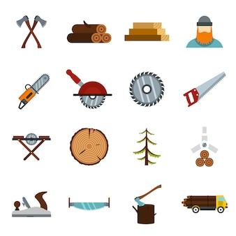 Icônes de l'industrie du bois définies dans un style plat