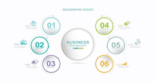 Icônes d'infographie de chronologie de cercle d'affaires conçues pour le modèle de fond abstrait