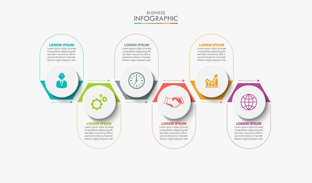 Icônes infographiques de chronologie de visualisation de données commerciales