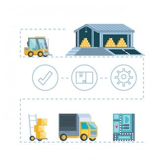 Icônes infographiques de service de livraison
