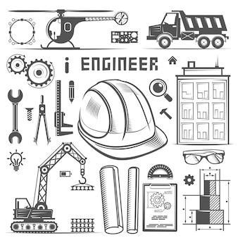 Icônes ingénieur art de style de dessin. illustration vectorielle