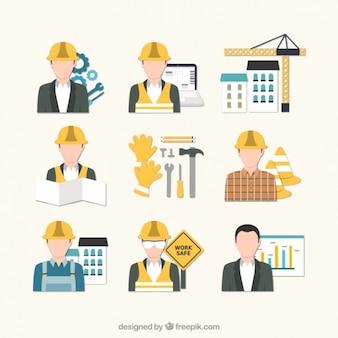 Icônes ingénieur en bâtiment