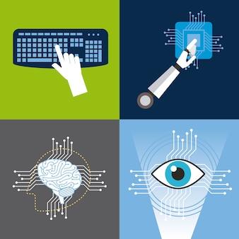 Icônes de l'intelligence artificielle définie la technologie