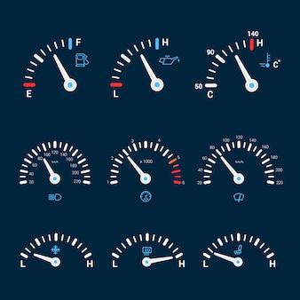 Icônes d'interface de compteur de vitesse