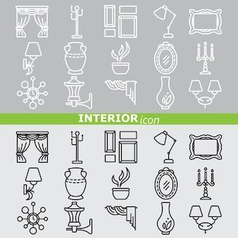 Icônes d'intérieur ensemble linéaire
