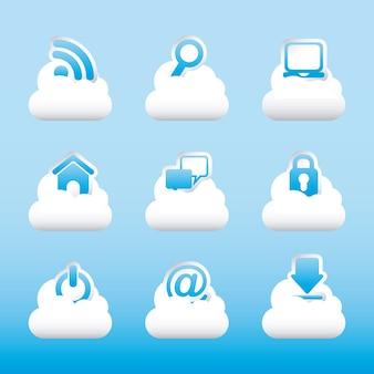 Icônes internet sur fond bleu illustration vectorielle