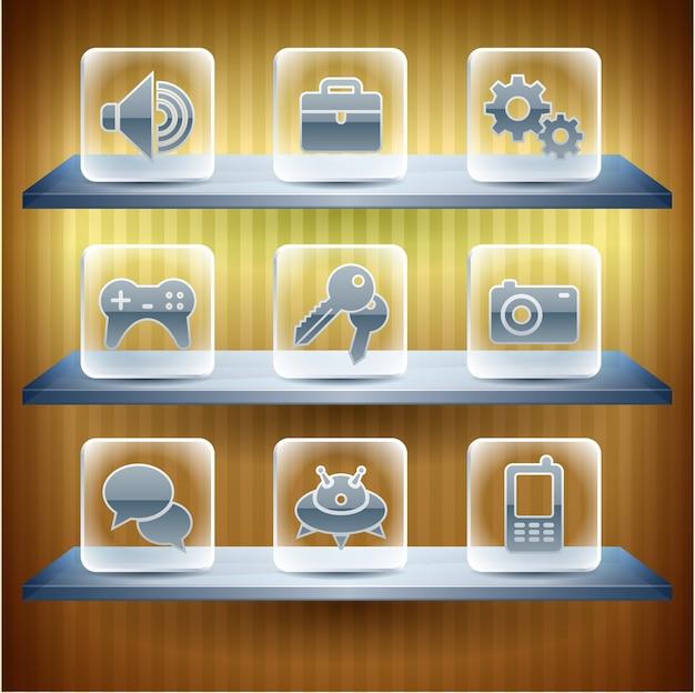 Icônes internet de site web, bouton en verre transparent