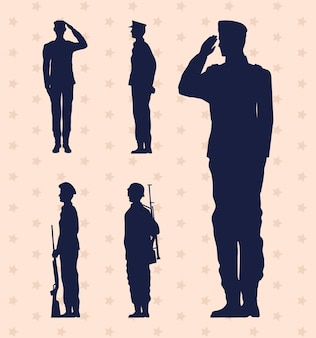 Icônes isolées militaires de cinq soldats