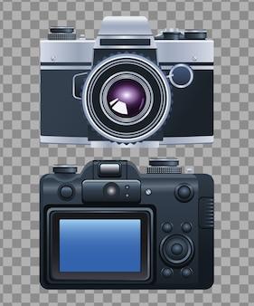 Icônes isolées de la technologie numérique caméras