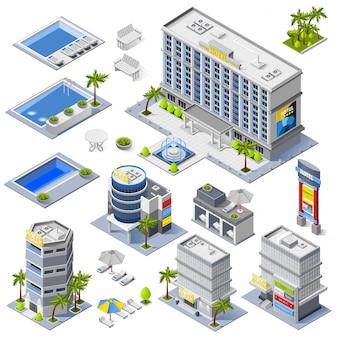 Icônes isométriques de bâtiments hôteliers de luxe