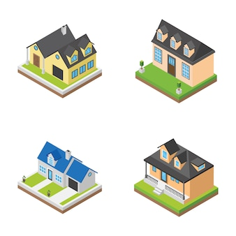 Icônes isométriques de bâtiments de maisons