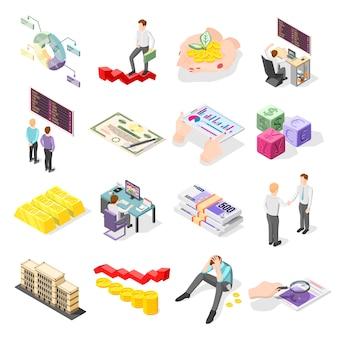 Icônes Isométriques De La Bourse Vecteur gratuit