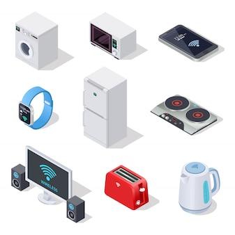 Icônes isométriques de choses internet. appareils ménagers.
