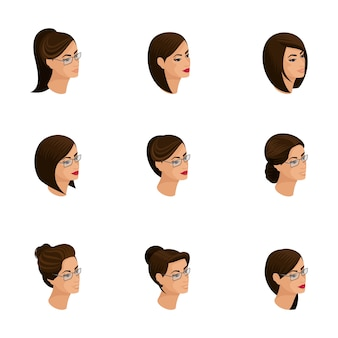 Icônes isométriques de coiffures de tête, visages, yeux, lèvres, émotions féminines. isométrie qualitative des personnes pour les illustrations