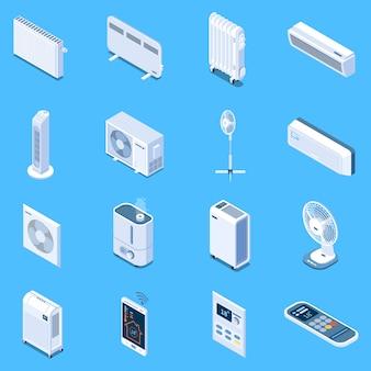 Icônes isométriques de contrôle du climat domestique avec table au sol et ventilateurs de tour rideau de chaleur de climatiseur radiateurs électriques et à huile isolés
