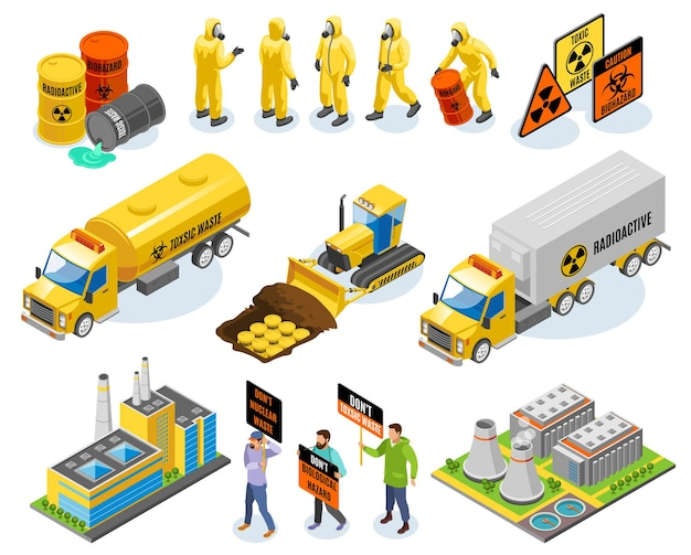 Icônes isométriques de déchets toxiques