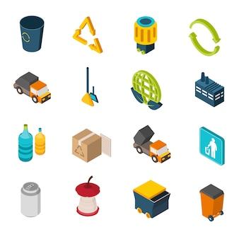 Icônes isométriques de déchets