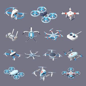 Icônes isométriques drones