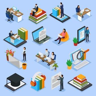 Icônes isométriques de l'éducation en ligne