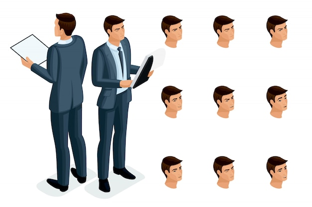 Icônes isométriques des émotions de la femme, vue avant et arrière du corps, visage, yeux, lèvres, nez. expression faciale. isométrie qualitative des personnes pour les illustrations