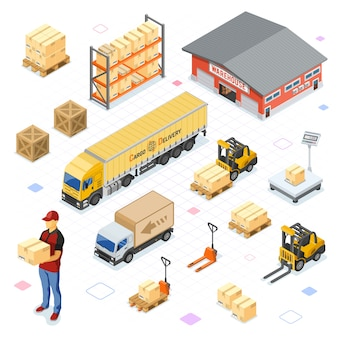 Icônes isométriques entrepôt, stockage, logistique et livraison avec entrepôt, balances, camion, chariot élévateur, coursier. isolé