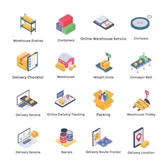 Icônes isométriques d'entrepôt