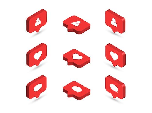 Icônes isométriques. icônes de notifications de médias sociaux.