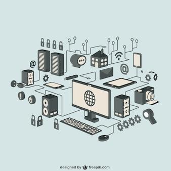 Icônes isométriques internet