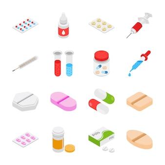 Icônes isométriques de médicaments
