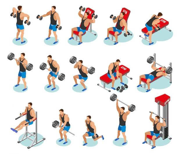 Icônes isométriques de musculation