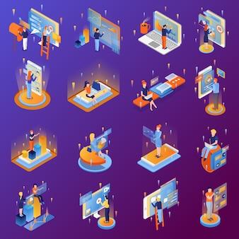 Icônes isométriques de personnes et d'interface sertie de communication de transfert d'analyse de données 3d à écran tactile smartphone isolée