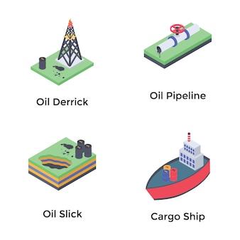 Icônes isométriques de pétrole