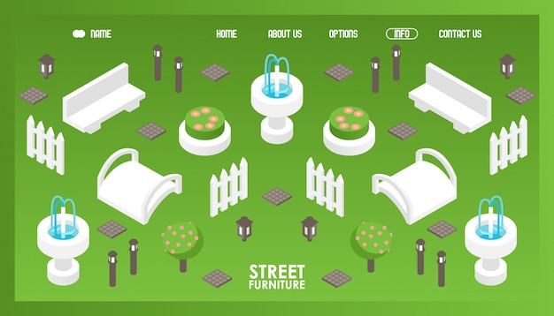 Icônes isométriques pour magasin de mobilier urbain