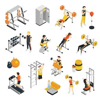 Icônes isométriques de remise en forme sertie de personnes s'entraînant dans une salle de sport utilisant des équipements sportifs
