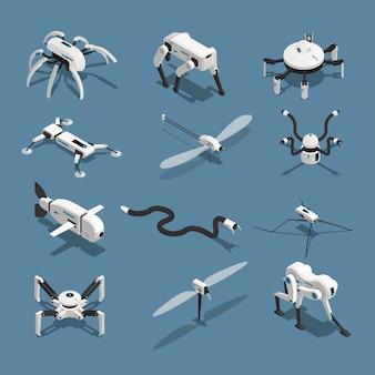 Icônes isométriques de robots bio