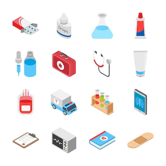 Icônes isométriques de soins de santé