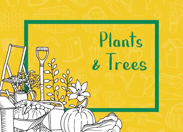 Icônes de jardinage doodle avec espace de copie