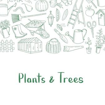 Icônes de jardinage doodle