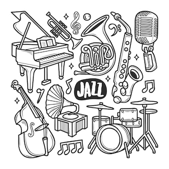 Icônes jazz coloriage doodle dessiné main