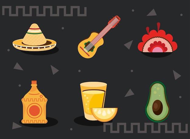 Icônes de jeu de célébration mexicaine