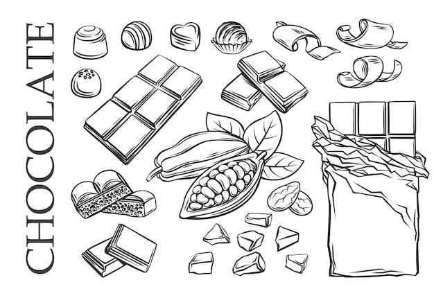 Icônes de jeu de chocolat de contour