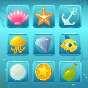 Icônes de jeu du monde sous-marin