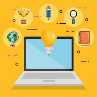 Icônes de jeu d'éducation en ligne