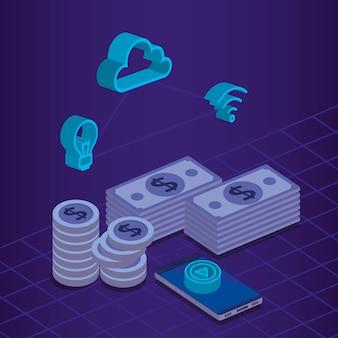 Icônes de jeu isométrique de transaction financière