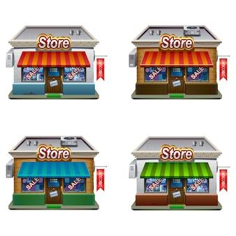 Icônes de jeu de magasin. collection d'icônes de magasin