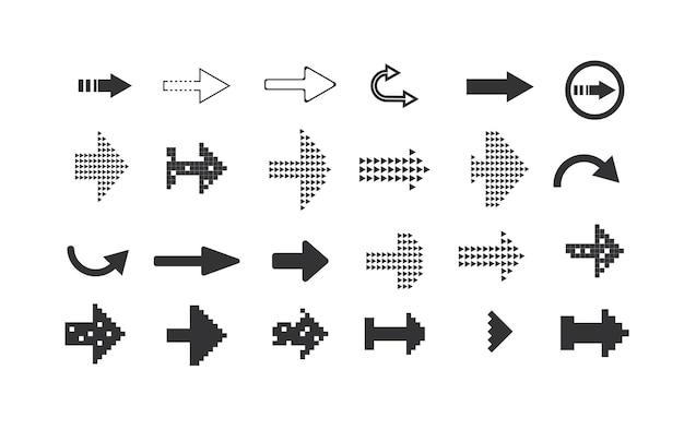 Icônes de jeu noir icône de flècheillustration vectorielle collection de pointeurs de vecteur