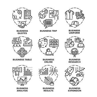 Icônes de jeu de plan d'affaires