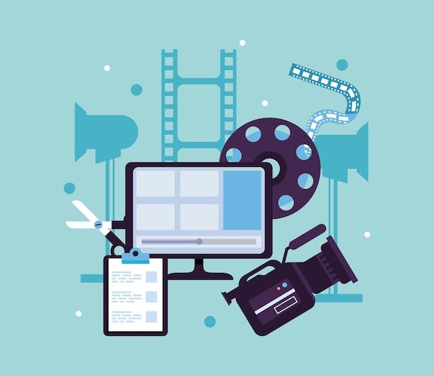 Icônes de jeu de production de bureau et vidéo