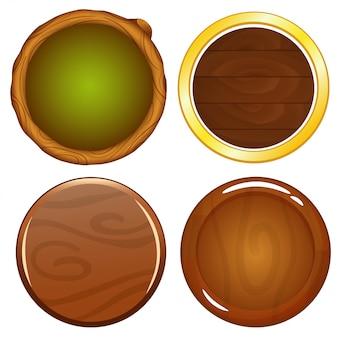 Icônes de jeu rond en bois de dessin animé