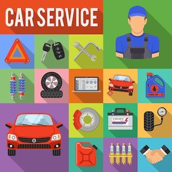Icônes de jeu de service de voiture